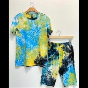 Tie Dye Set (short sleeve top & biker shorts)